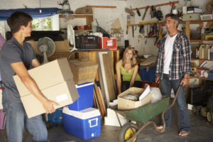 A family follows garage storage solution tips and rents a storage unit for seasonal items