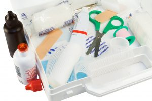 A picture of an open first-aid kit.